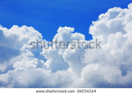High detail cloud on blue sky background - stock photo