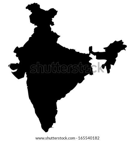 High detailed black illustration map - India - stock photo