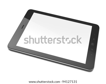 High-detailed black tablet computer (tablet pc) on white background, 3d render.  Modern portable touch pad device with white screen. - stock photo