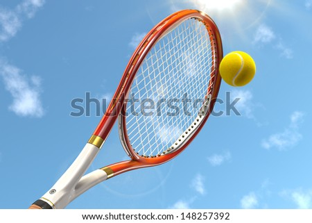 High detailed 3D tennis racket on a cloudy sky background with sun and a tennis ball - stock photo