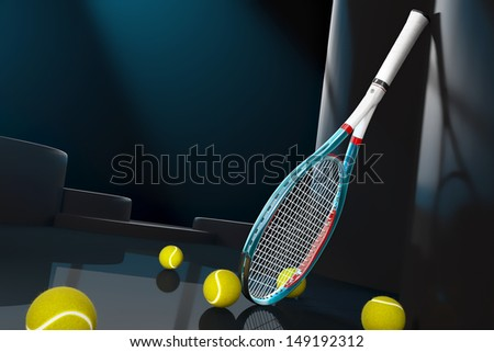 High detailed 3D tennis racket with a reflective background and some tennis balls - stock photo