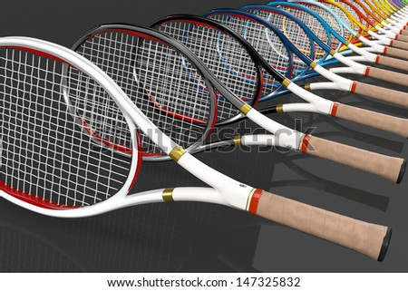 High detailed 3D tennis rackets with different colors in line order on a dark reflective background
