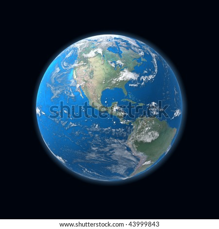 high detailed globe map, Central america, usa - stock photo