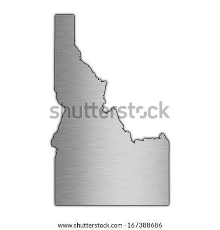 High detailed illustration aluminum map - Idaho - stock photo