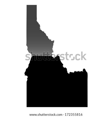 High detailed illustration map with piano effect - Idaho - stock photo