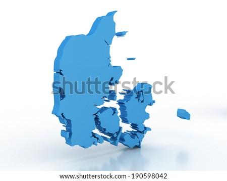 High detailed map Denmark 3D  - stock photo