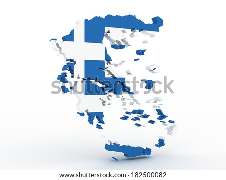 High detailed map Greece with flag 3d