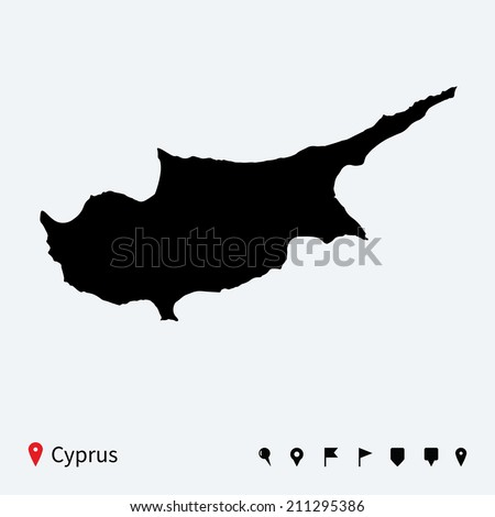 High detailed map of Cyprus with navigation pins.