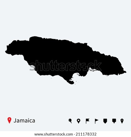 High detailed map of Jamaica with navigation pins. - stock photo