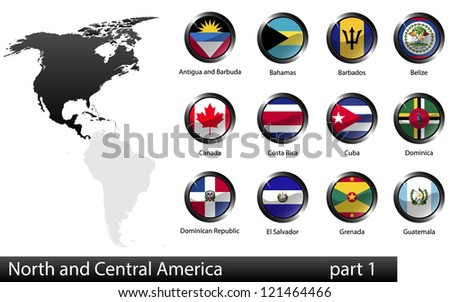 High detailed national flags of North and Central American countries, clipped in round shape glossy metal buttons, part 1,  raster version - stock photo