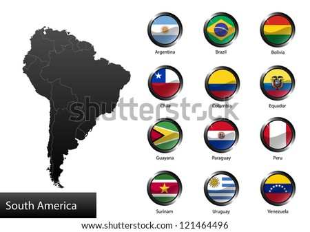 High detailed national flags of South American countries, clipped in round shape glossy metal buttons, raster version
