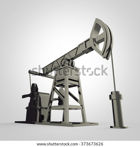 High detailed old scratched mrtal oil pump-jack, oil rig. isolated 3d rendering. oil, fuel industry, economy crisis illustration.