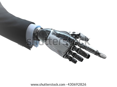 High detailed robotic hand in business suit touching virtual point with index finger. Bionic technology in digital world. 3d rendered image isolated on white background - stock photo