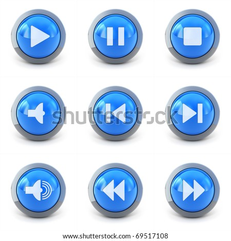 High detailed Set of media player 3d buttons isolated on white - stock photo