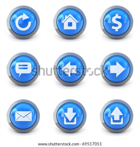 High detailed Set of web interface 3d buttons isolated on white - stock photo