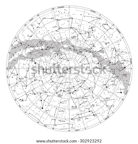 High detailed sky map of Northern hemisphere with names of stars - stock photo