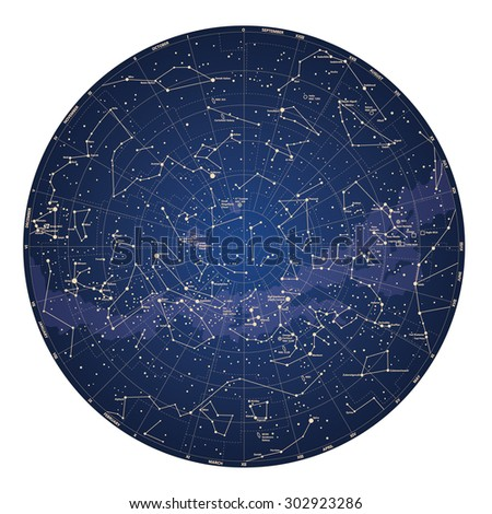 High detailed sky map of Southern hemisphere with names of stars - stock photo