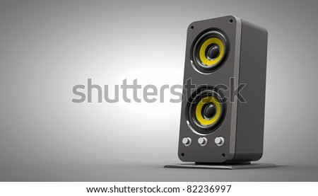 High detailed speaker on gradient background, 3d illustration - stock photo