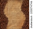 High detailed texture of a burlap material and coffee beans, perfect for text/copy space - stock photo