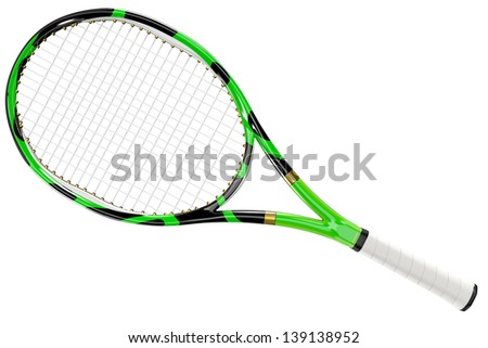 High detailed textured 3D tennis racket isolated on white background - stock photo