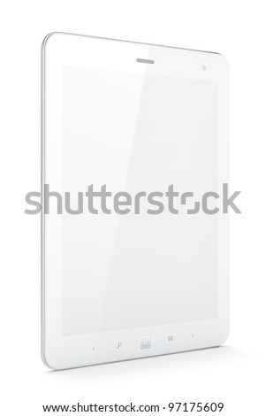 High-detailed white tablet pc on white background, 3d render. - stock photo