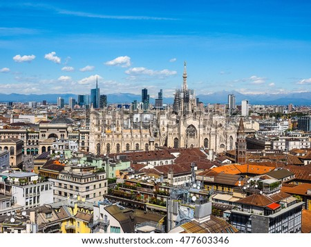 High dynamic range HDR Aerial view of Duomo di Milano gothic cathedral church in Milan, Italy