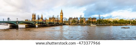High dynamic range HDR Panoramic view of the River Thames, Houses of Parliament and the Big Ben, Westminster Bridge in London