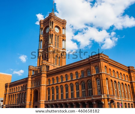 High dynamic range HDR Rotes Rathaus meaning The Red Town Hall in Berlin, Germany