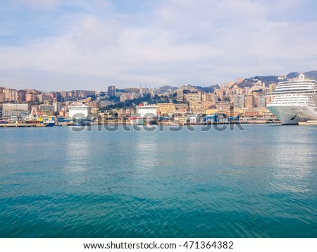 High dynamic range HDR View of the city of Genoa from the sea