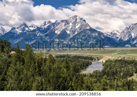 High Dynamic Range Image of the Grand Teton Peaks, in the Grand Teton National Park, just south of Yellowstone National Park - stock photo
