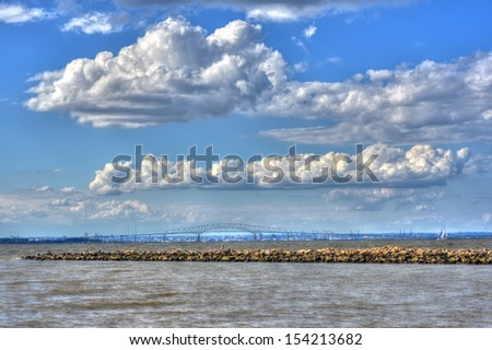 High Dynamic Range Landscape of the Chesapeake Bay with Baltimore City and Key Bridge in background - stock photo