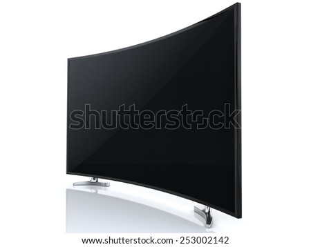 High-end curved Curved Smart TV on white background - stock photo