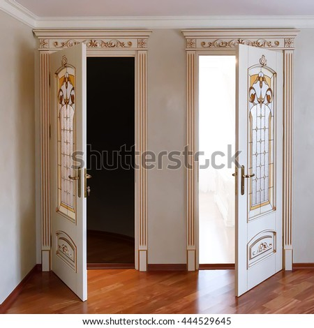 High End Luxury Furniture. Two Open Door In The Interior. White Tree With