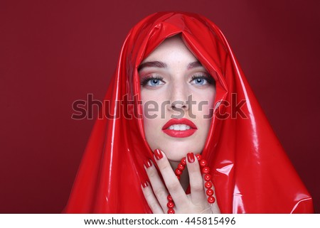 High End Portrait of a Beautiful Fashion Girl - stock photo