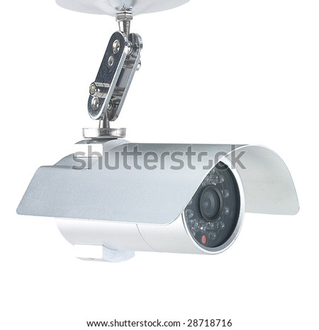 High end security camera isolated on white - stock photo