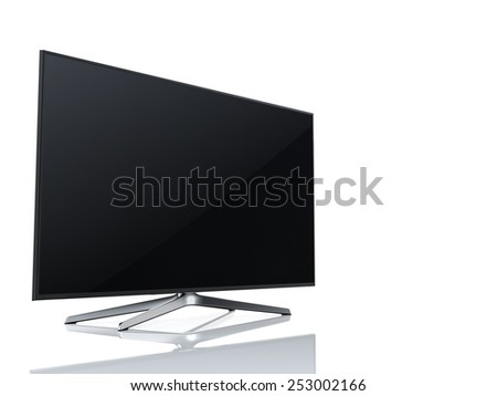 High-end widescreen led or lcd smart tv isolated on white - stock photo