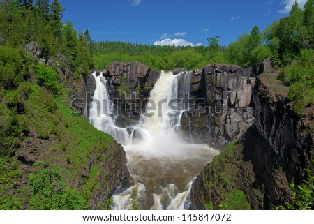 High falls at Grand Portage State Park Minnesota - stock photo