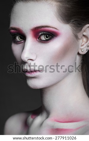 High fashion beauty model girl with pink make up, closeup - stock photo