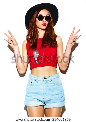 High fashion look. funny glamor stylish sexy smiling beautiful young woman model in summer bright  hipster cloth in hat - stock photo