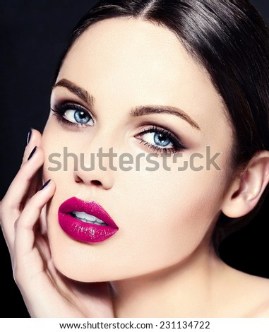High fashion look.glamor closeup beauty portrait of beautiful   Caucasian young woman model with bright makeup   with perfect clean skin with colorful pink lips - stock photo