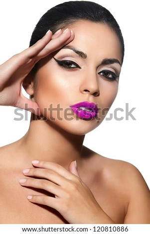 High fashion look.glamor closeup portrait of beautiful sexy Caucasian young woman model with pink lips,bright makeup, with black eyes with perfect clean skin isolated white - stock photo