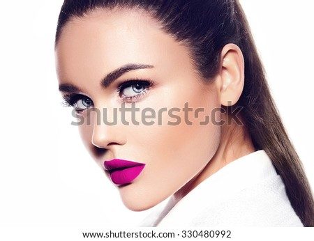 High fashion look.glamor closeup portrait of beautiful sexy stylish brunette business young woman model with bright makeup with red lips - stock photo