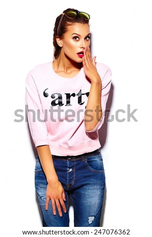 High fashion look.glamor stylish beautiful  young woman model with red lips  in pink sweater hipster cloth  - stock photo