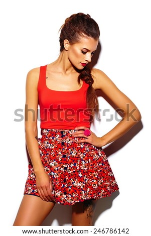 High fashion look.glamor stylish beautiful  young woman model with red lips  in summer bright colorful  hipster cloth  - stock photo