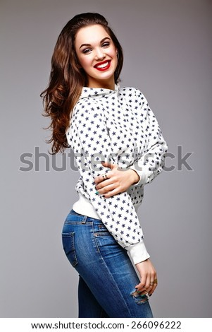 High fashion look.glamor stylish sexy smiling beautiful young woman model in summer bright jeans  hipster cloth  - stock photo