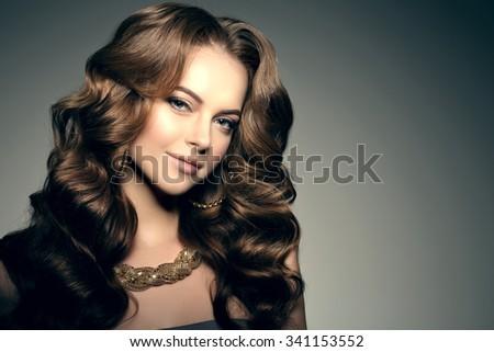 High-fashion Model Beauty Woman precious jewelry Perfect skin lips - stock photo