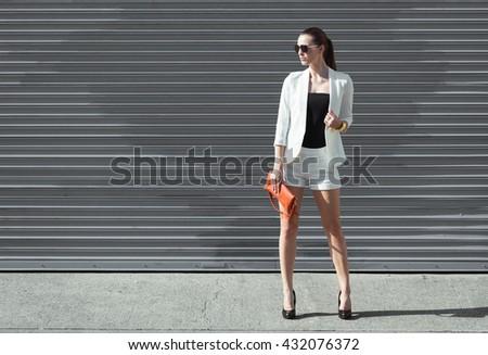 High fashion model striking a pose. - stock photo