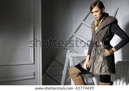 High fashion model with posing in the studio