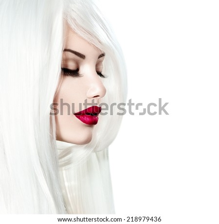 High fashion portrait of beauty model girl with white hair and red lipstick isolated on white background. Luxury make-up and hairstyle, white smooth shiny hair, red sensual lips  - stock photo