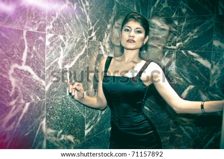 High Fashion shoot with Latina model amazing light amazing talent - stock photo